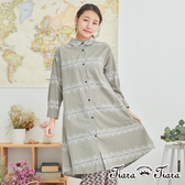 【Tiara Tiara】民俗風花樣純棉襯衫式洋裝(灰/黑)
