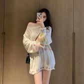 鏤空針織上衣 2020秋冬新款港味套頭寬鬆慵懶風鏤空針織衫長袖上衣女【樂淘淘】