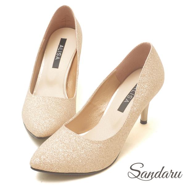 訂製鞋 金蔥閃料美型尖頭高跟鞋-艾莉莎ALISA【03A6139】金色下單區