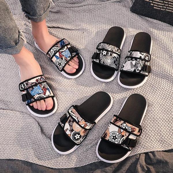 凉鞋-2020夏季新款拖鞋男時尚外穿韓版個性一字拖情侶室外防滑涼鞋潮流