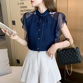 涼感上衣 短袖襯衫S-2XL8333#超仙雪紡衫女短袖夏季荷葉邊時尚氣質洋氣上衣T614快時尚
