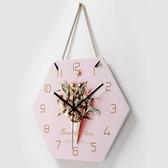 特惠掛鐘北歐少女心小清新掛鐘客廳裝飾創意時尚簡約鐘錶臥室靜音時鐘LX