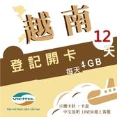 《Viettel越南軍隊》每日4GB 12天高速流量越南原廠卡/3-30天任選/越南網卡