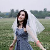 新款婚紗頭紗短款女新娘韓式簡約頭紗頭飾超仙森繫頭紗  優尚良品