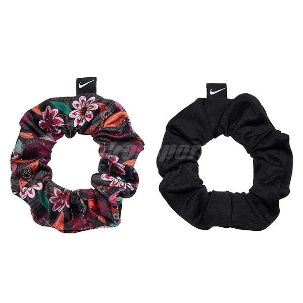 Nike 髮帶 Gathered Hair Ties 黑 花卉 女款 鬆緊帶 運動 健身 【ACS】 N100245593-4OS