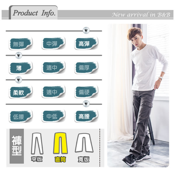 鐵灰涼感透氣多口袋設計工作褲