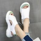 厚底涼鞋女2021年新款女學生春夏天平底百搭腳胖寬運動防滑外穿