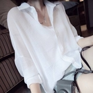 防曬衣 薄款襯衫女韓範雪紡外搭上衣寬鬆大尺碼襯衣防曬衣百搭顯瘦