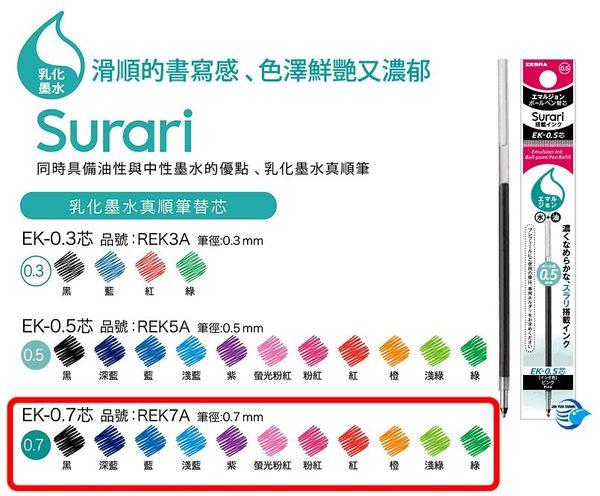 【金玉堂文具】Prefill 0.7 Surari變芯原子筆芯 REK7A 斑馬 ZEBRA(買4送S4A11筆管1支,數量有限送完為止)