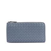 【BOTTEGA VENETA】小羊皮編織L型拉鏈長夾(灰藍色)338137 V001N 4710