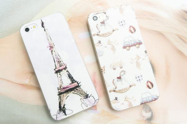 MQueen膜法女王 APPLE iphone5 ise i5s 韓風 復古 手繪風格 人像 巴黎鐵塔 風景 街景 漫畫 手機殼 背蓋