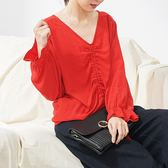 【KatieQ】抽繩造型薄款長袖上衣 738 FREE紅色