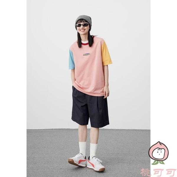 三色拼接短袖T恤女圓領寬松上衣【桃可可服飾】