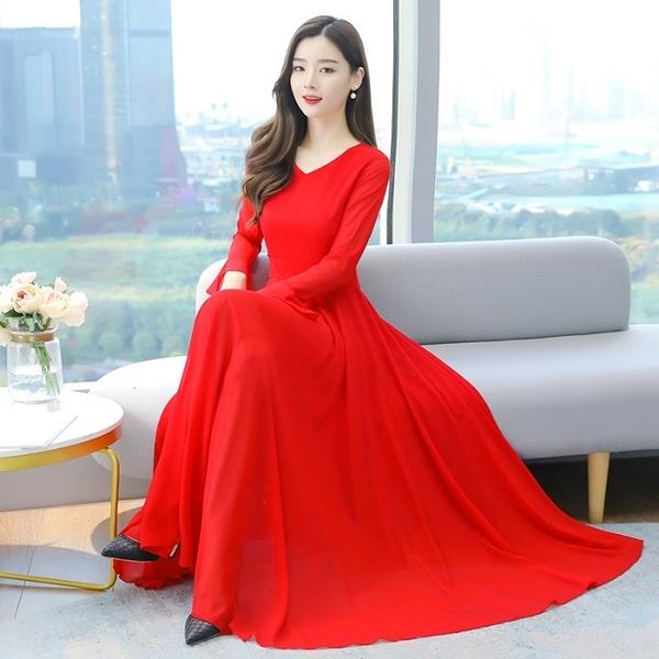 雪紡洋裝 超仙純色雪紡甜美連身裙女春裝長袖2021年新款大碼顯瘦大擺長款沙灘裙