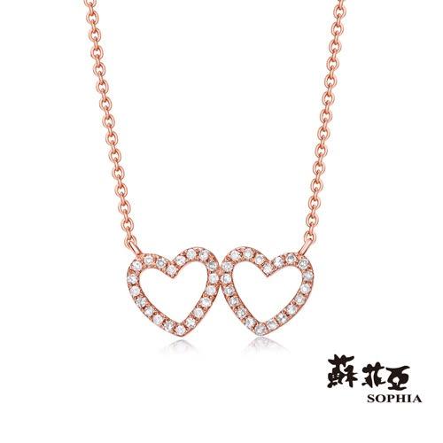 蘇菲亞SOPHIA - 雙心系列 玫瑰金鑽石套鍊
