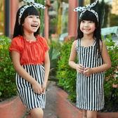 【韓版童裝】真二件式細肩帶直條紋雪紡罩衫洋裝-橘紅【BD150527004】