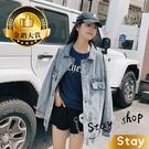 【Stay】韓版復古寬鬆顯瘦長版牛仔外套...