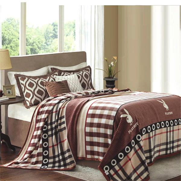 【PLAYBOY】美國花花公子幻想法萊絨毯 雙層 咖啡色 雙人毛毯