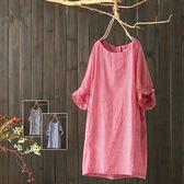 寬鬆圓領純棉格子喇叭袖中洋裝/設計家 Q2068