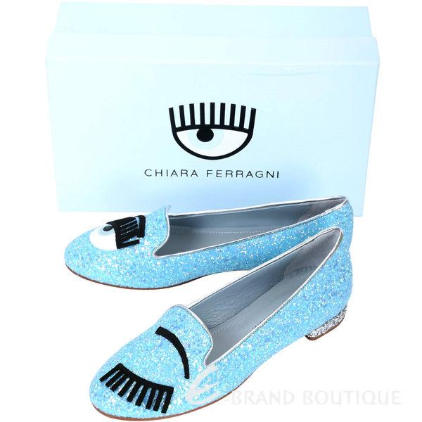 Chiara Ferragni Flirting 新版眨眼亮片拼接樂福鞋(天空藍) 1610063-27