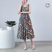 棉麻洋裝連身裙~無袖洋裝~無袖大碼修身綿綢連身裙女中長款收腰印花裙子2F055愛尚布衣
