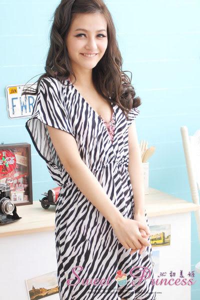 泳衣配件  深V款比基尼外搭罩衫 - 戀上海邊(黑白斑馬) -沁甜美姬