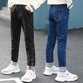 女童牛仔褲中大童休閒直筒長褲兒童緊身外穿長褲2020新款春秋裝潮 童趣潮品