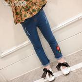 女童牛仔褲兒童女寶寶童裝褲子長褲女孩喇叭褲「七色堇」