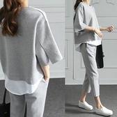 新款春夏季韓版寬鬆時尚孕婦裝套裝七分褲休閒運動潮媽兩件套   遇見生活