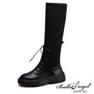 長靴 完美纖腿異材拼接長筒靴(黑)*BalletAngel【18-2008bk】【現+預】