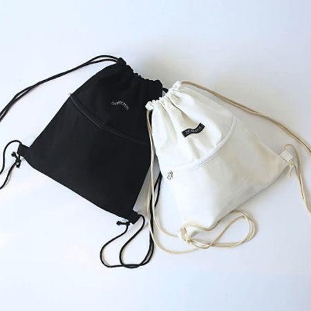 素色拉鏈抽繩束口帆布後背包 3色【F929156】