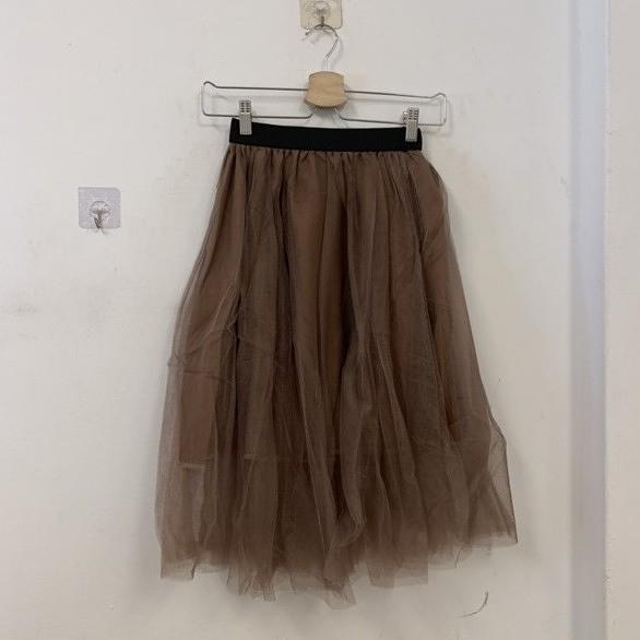 新款復古顯瘦高腰純色網紗蓬蓬裙半身裙打底裙(L-2XL號/777-7778)