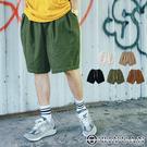 【OBIYUAN】寬褲 休閒短褲 寬鬆 日系打折 繭型 工作褲 共5色【Y001】