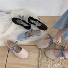 平底單鞋春單鞋溫柔仙女風格子蝴蝶結綁帶平底芭蕾舞鞋豆豆瓢鞋女特賣
