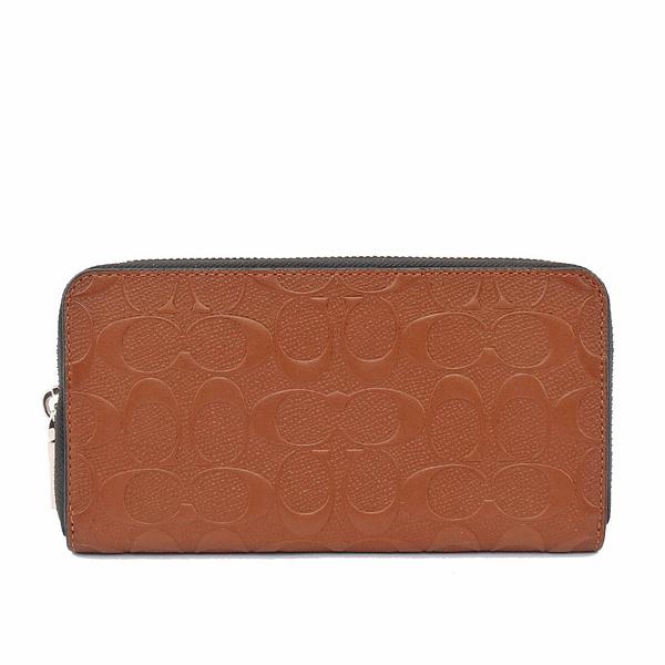 【COACH】C LOGO壓紋皮革ㄇ拉長夾(咖棕) F24667 SAD