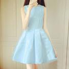 緞面拼接蕾絲可拆式蝴蝶結洋裝 (水藍,粉紅)