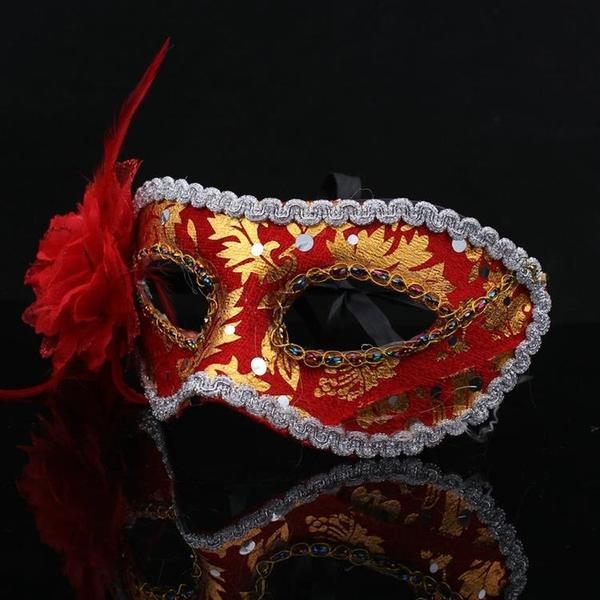 面具 ( 旗袍布面罩 ) 威尼斯 半臉面具 側面帶花鑲邊 花紋包布面具 眼罩 面罩 cosplay【塔克】