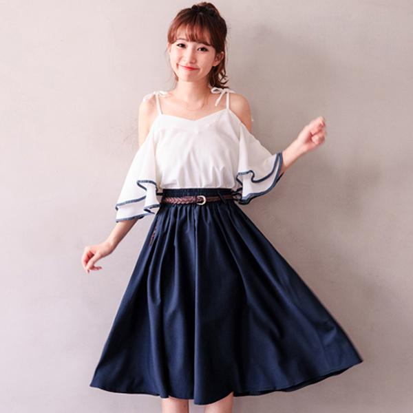 MIUSTAR 附編織皮帶縮緊腰滑布中長裙(共4色)【NH0915GW】預購