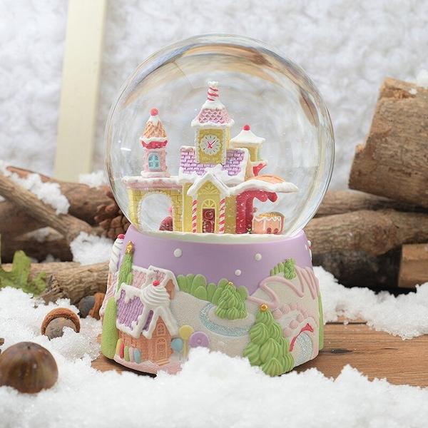 讚爾藝術 JARLL~歡樂薑餅小火車 聖誕 水晶球音樂盒(QO1806-EB) 交換禮物 (現貨+預購)