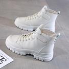 馬丁靴 馬丁靴女2021年新款靴子厚底女靴春秋單靴黑色短筒英倫風系帶短靴 快速出貨