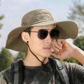 草帽 帽子男夏天漁夫帽戶外防曬遮陽帽太陽帽草帽男士沙灘帽登山釣魚帽