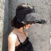 大檐帽亞麻遮臉ins空頂帽子女夏季韓版潮網紅遮陽防曬戶外太陽帽