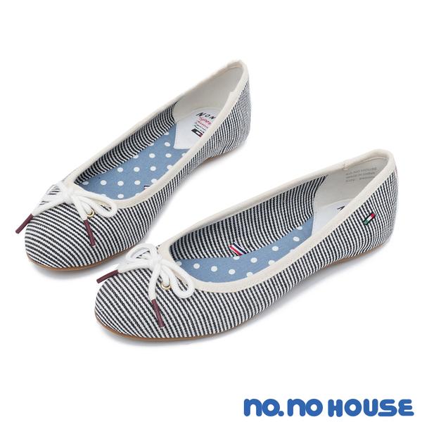 平底鞋 輕甜女孩蝴蝶結娃娃鞋(藍條) *nonohouse 【18-6840b】【現貨】