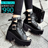 克妹Ke-Mei【ZT53638】Rihanna歐美軍風龐克馬甲綁帶騎士風露指短靴