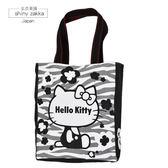 帆布包-日本進口-Sanrio三麗鷗A4帆布手提袋-HelloKitty斑馬紋-玄衣美舖