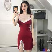 Bay 夏性感女神V領低胸蝴蝶結蕾絲邊吊帶背心打底睡衣連身裙