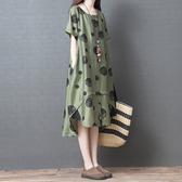 文藝複古女裝2020夏季新款寬鬆大碼顯瘦中長款波點印花棉麻洋裝 美芭