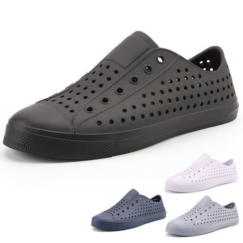 男女款 全色造型防水止滑小白鞋 全黑上班鞋 休閒鞋 懶人鞋 洞洞鞋 防水鞋 59鞋廊