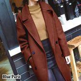 藍色巴黎 ★秋冬 韓國時尚雙排釦中長版加厚毛呢大衣 外套 西裝外套【28349】