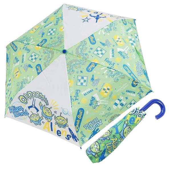 〔小禮堂〕迪士尼 三眼怪 彎把防風傘骨折疊傘《綠.抬頭》折傘.雨具.雨傘 4580433-07799